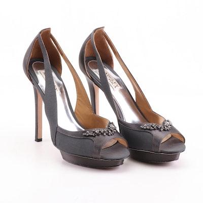 Badgley Mischka Embellished Black Satin Open Toe High Heel Dress Pumps
