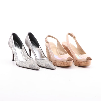Stuart Weitzman Patent Leather Jean Slingback Cork Wedges and Lace Serio Pumps