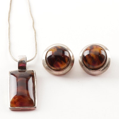 Sterling Silver and Imitation Amber Demi-Parure