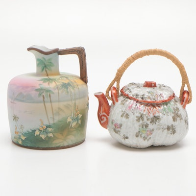 Hand Painted Nippon Vase and Pumpkin Motif Teapot, Mid to Late 20th Century