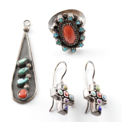 Sterling Silver Turquoise Coral Pendant, Earrings and Ring