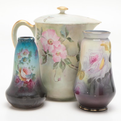 Royal Bonn Vases and PL Limoges Pitcher, Mid to Late 20th Century