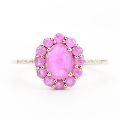 10K White Gold Pink Sapphire Ring with Diamond Accents
