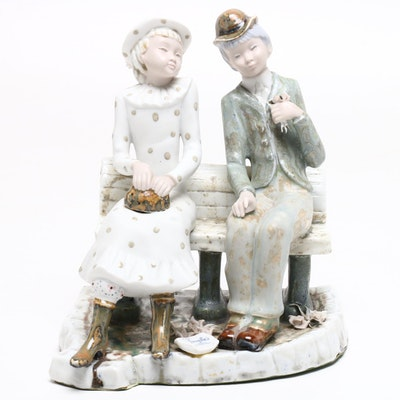 Inglès Porcelain Figurine of Man and Woman on Bench