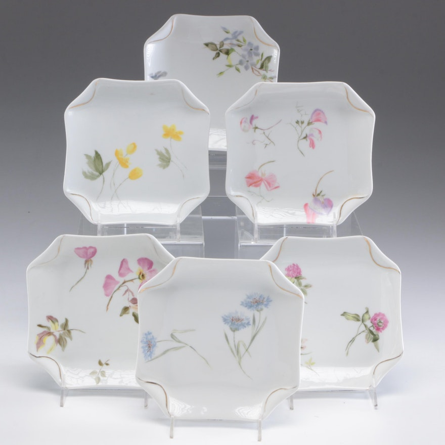 Haviland Set of 6 Floral Motif Plates,  Late 19th Century