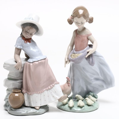 "Lladró Porcelain ""A Step in Time"" Signed Figurine and ""Afternoon Snack"" Figurine"
