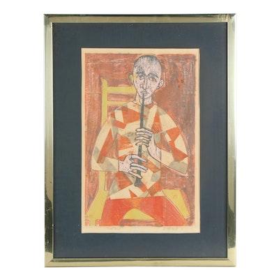 Stanley Mitruk Lithograph of Oboist