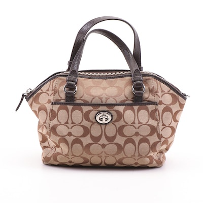 Coach Signature Canvas Satchel with Brown Leather Trim and Turnlock Pocket