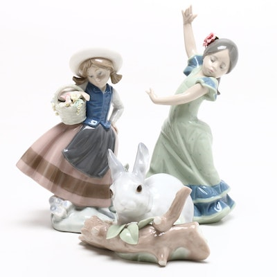 "Lladró Porcelain Figurines Including ""Lolita"", ""Rabbit Eating"", and More"