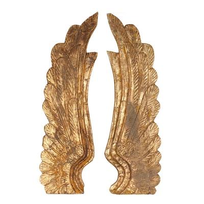 Folk Art Carved Wood Wings