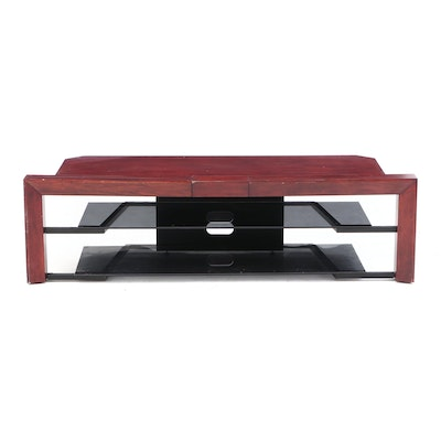 Mahogany and Glass Media Console Cabinet, Contemporary