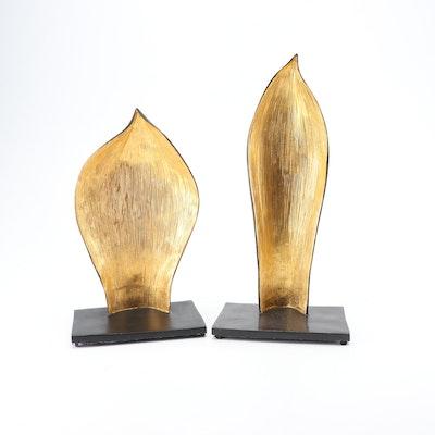 Michael Aram Bronze Agave Leaf Sculptures, Pair