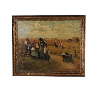 Lajos Bruck Oil Painting of Pastoral Harvest Scene