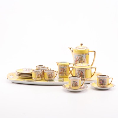 OOF Czechoslovakia Gold Encrusted Porcelain Tea Service, Early 20th Century