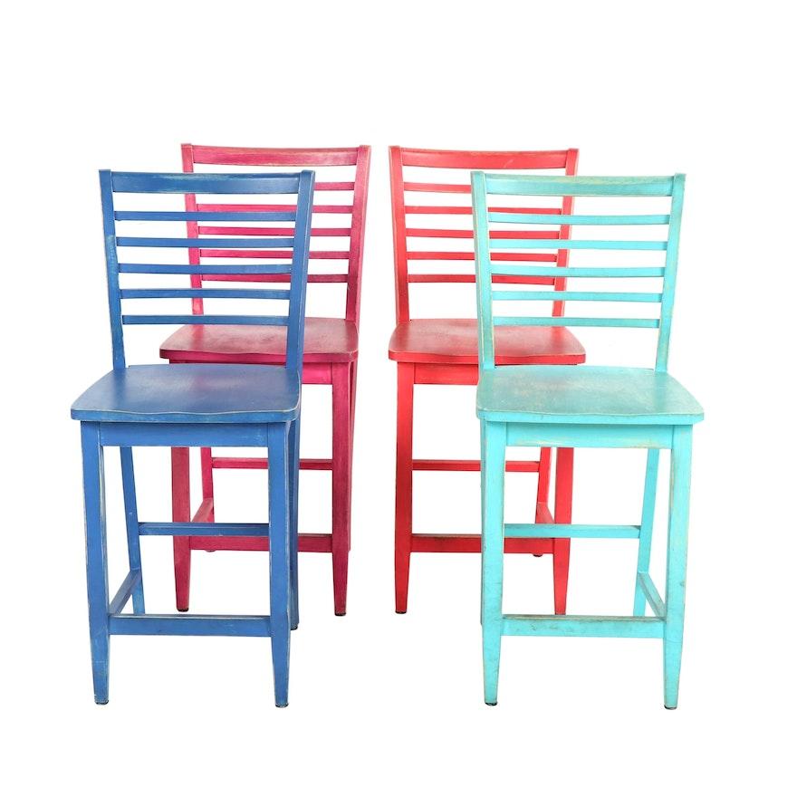 Strange Painted Wood Counter Height Bar Stools Machost Co Dining Chair Design Ideas Machostcouk