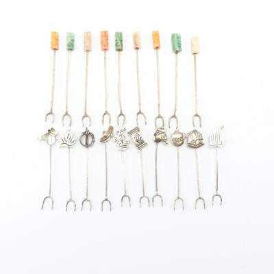 Mexican Hors d'oeuvre Forks with Figural and Dyed Quartz Handles