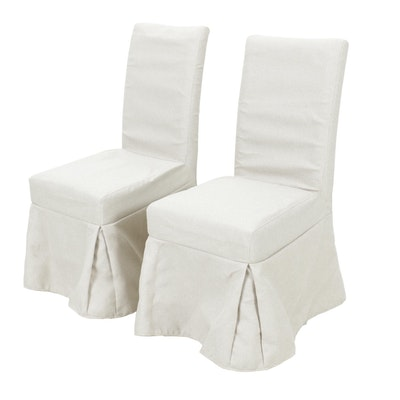 Pair of Instyle Decorative Slipcovered Side Chairs