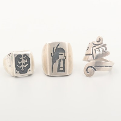 Sterling Rings Featuring Taxco, Overlay and  Steven Pooyouma, Kuyaya