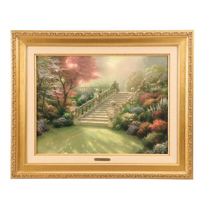 """Hand Embellished Offset Lithograph after Thomas Kinkade """"Stairway to Paradise"""""""