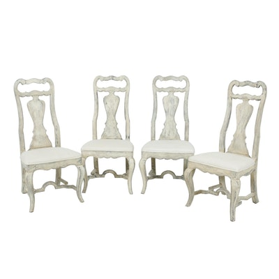 Four Drexel White-Painted French Provincial Style Side Chairs