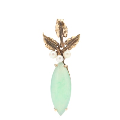 Vintage 14K Yellow Gold Jadeite and Cultured Pearl Pendant