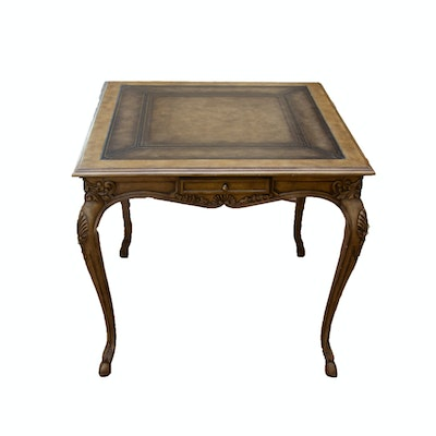 George III, Rococo Style Leather-Topped Side, Carved Wooden Center Table