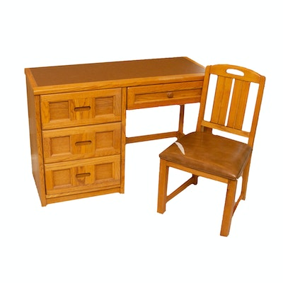 Transitional Style Oak Desk and Chair, 1980s