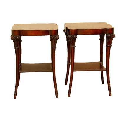 Pair of Leather-Topped Transitional Bedside Tables, 20th Century