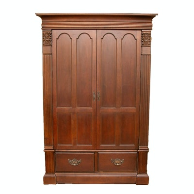 Bernhardt Transitional/Neoclassical Style Mahogany-Finish Wooden Media Armoire