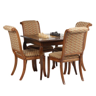 Walnut Veneered Games Table with Game Pieces and Four Fremarc Chairs
