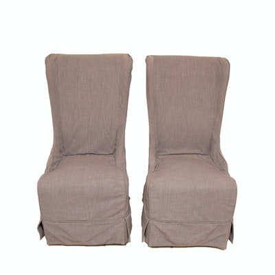 Pair of Contemporary High-Back Arhaus Armchairs with Slip Covers