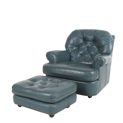 Classic Leather Lounge Chair with Ottoman