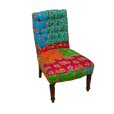 Contemporary Brightly Colored Floral Upholstered Arhaus Side Chair and Pillows