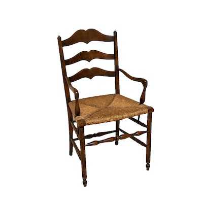 French Provincial Style Ladderback Open Armchair, 20th Century