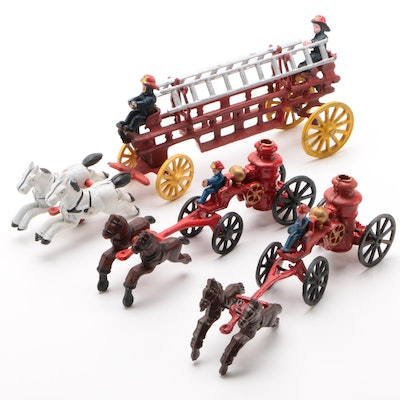 Reproduction Diecast Toy Horse-Drawn Fire Engines and Ladder Truck