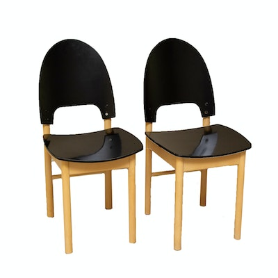 Pair of Contemporary Modern Painted Wooden Side Chairs
