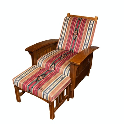 Sam Moore Contemporary Arts & Crafts Oak Morris Chair and Footstool