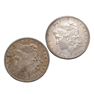 1889 and 1921 Morgan Silver Dollar Coins