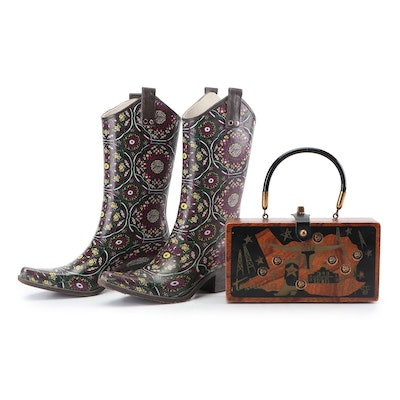 """Nomad """"Yippy"""" Western Rubber Boots and Enid Collins of Texas Wooden Box Purse"""