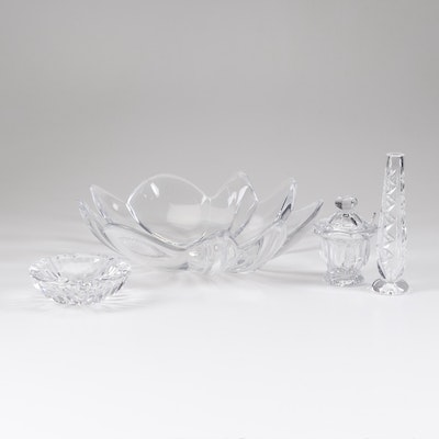 Orrefors, Baccarat, and Other Crystal Bowl, Vase, Condiment Jar, and Ashtray