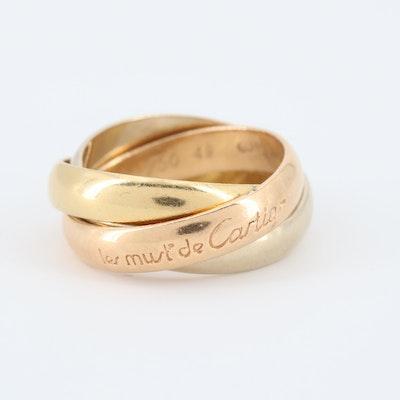 Les Must de Cartier 18K Tri-Color Gold Trinity Ring