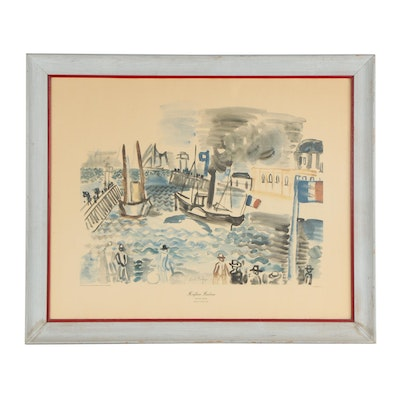 """Offset Lithograph After Raul Dufy """"Honfleur Harbour"""""""