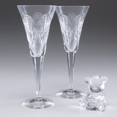 """Waterford Crystal """"Millennium Series"""" Fluted Champagne Glasses and Bear Figurine"""