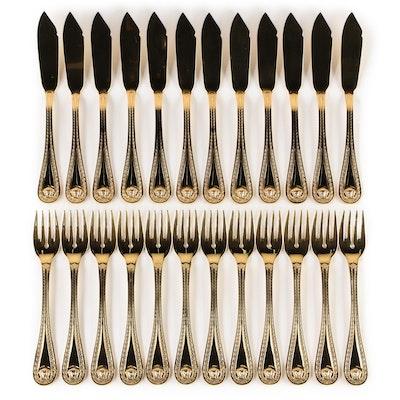 """Versace for Rosenthal """"Medusa"""" 24K Gold Plated Salad Forks and Knives"""