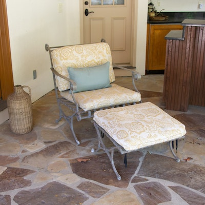 Italian Designer Patio Chair with Ottoman with Cover