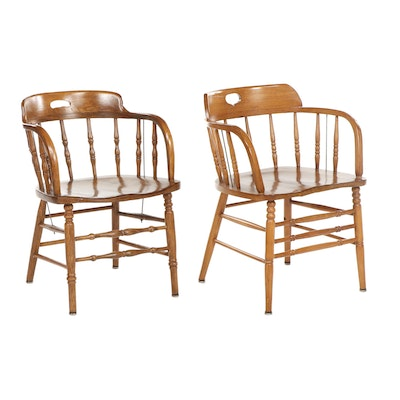 Pair of Colonial Style Spindle Back Wooden Chairs, Late 20th Century