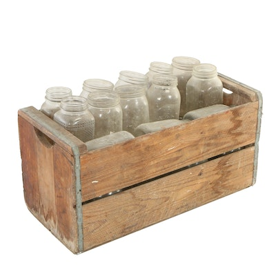 Wooden Crate with Glass Mason Jars