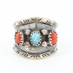E. Spencer Navajo Diné Sterling Silver Turquoise and Coral Ring