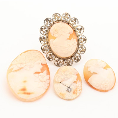 Helmet Shell Carved Cameos Featuring Sterling Brooch and White Sapphire Habillé