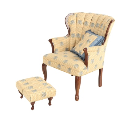 Upholstered Channel-Back Wood Armchair
